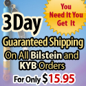 You Need It You Get It.  Three day guaranteed shipping on all Bilstein and KYB orders for only $15.95.