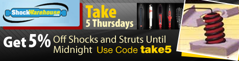 Take 5 Thursdays at ShockWarehouse.  Take 5% off until midnight.  Use Code take5